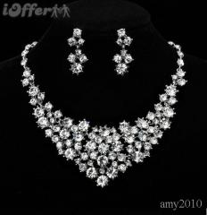 HH-BEST LUXURY DIAMOND STARRY NECKLACE&EARRING SET