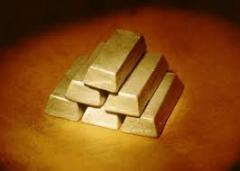 Alluvial Gold bars and gold dust