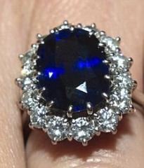 Diamond Ring with Sapphire Stone